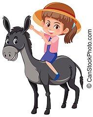 paardrijden, meisje, ezel
