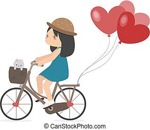 paardrijden, meisje, fiets, ballons