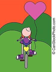 paardrijden, meisje, fiets, balloon