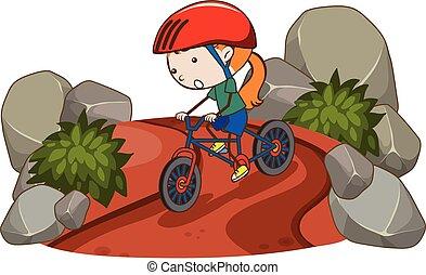 paardrijden, meisje, fiets, berg