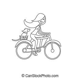 paardrijden, meisje, fiets, dog, samen