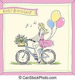 paardrijden, meisje, fiets, kaart