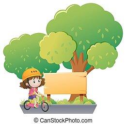 paardrijden, meisje, fiets, park
