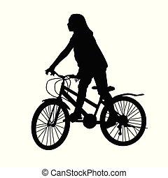 paardrijden, meisje, fiets, silhouette