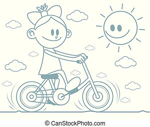 paardrijden, meisje, fiets