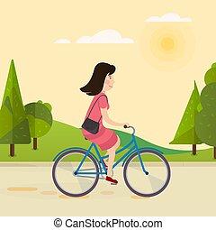 paardrijden, meisje, fiets, vrolijke