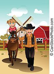 paardrijden, meisje, paarde, grootvader