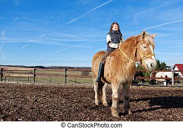 paardrijden, meisje, paarde, haar, jonge