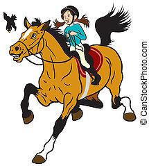paardrijden, meisje, paarde, spotprent
