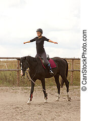 paardrijden, meisje, treinen