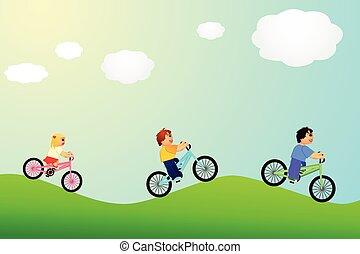 paardrijden, meisje, twee jongens, fiets, kinderen, zon