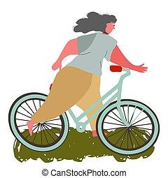 paardrijden, meisje, vrolijke , bicycle.