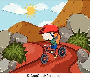 paardrijden, moutain, fiets, meisje