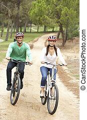 paardrijden, paar, fiets park