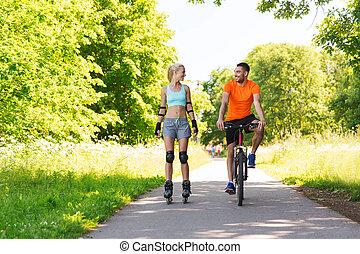paardrijden, paar, fiets, rollerblades, vrolijke