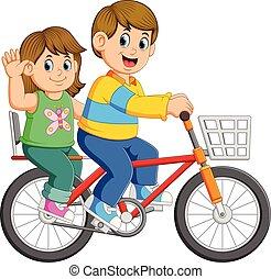paardrijden, paar, fiets, vrolijke