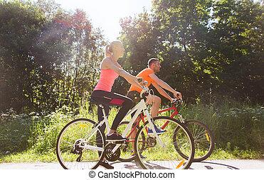 paardrijden, paar, vrolijke , fiets, buitenshuis