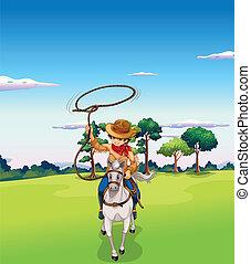 paardrijden, paarde, bos, cowboy