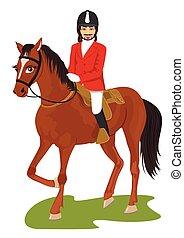 paardrijden, paarde, man, jonge, mooi