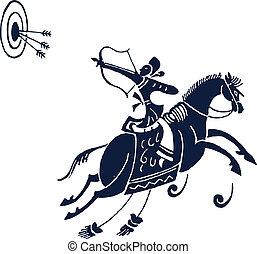 paardrijden, paarde, ontwerp, man