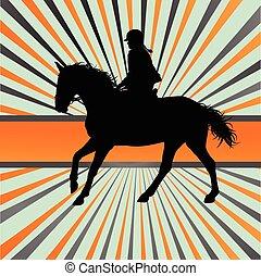 paardrijden, paarde, vector, achtergrond