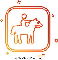 paardrijden, paarde, vector, ontwerp, pictogram