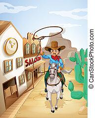 paardrijden, paarde, witte , tabak, man