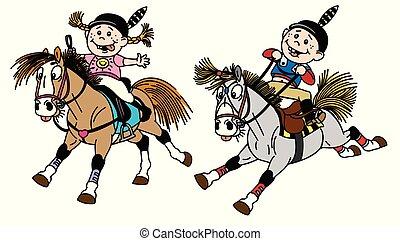 paardrijden, pony's, kinderen