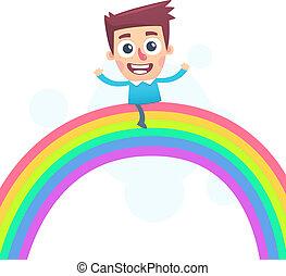 paardrijden, regenboog