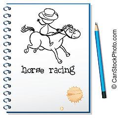 paardrijden, schets, aantekenboekje, paarde, man