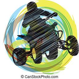 paardrijden, schets, sportsman, quadbike
