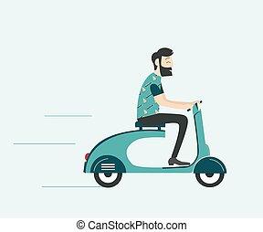paardrijden, scooter, man