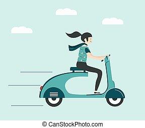 paardrijden, scooter, vrouw