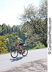 paardrijden, senior, fiets, fiets, straat