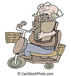 paardrijden, senior, kruidenierswaren, scooter