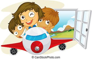 paardrijden, vrolijke , jetplane, kinderen