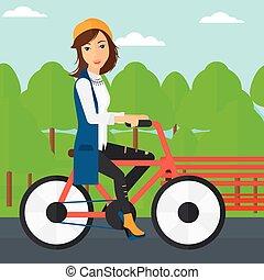 paardrijden, vrouw, bicycle.