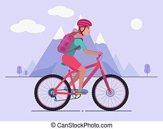 paardrijden, vrouw, fiets, berg