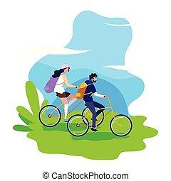 paardrijden, vrouw, fiets, man