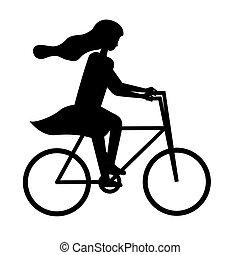 paardrijden, vrouw, silhouette, avontuur, fiets