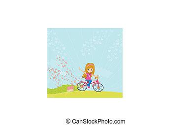 paardrijden, weinig; niet zo(veel), fiets, meisje