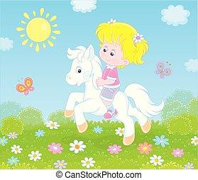paardrijden, weinig; niet zo(veel), pony, witte , meisje
