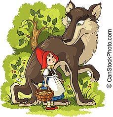 paardrijden, weinig; niet zo(veel), wolf, kap, rood