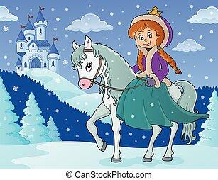 paardrijden, winter, 2, paarde, prinsesje