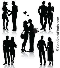 paare, silhouetten, romantische