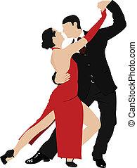paare, tanzen, a, tango