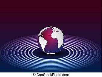 paarse , cirkels, neon, blauwe bol, achtergrond, technologie