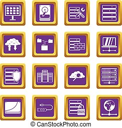 paarse , databank, set, iconen