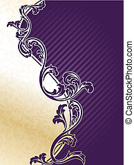 paarse , elegant, floral, achtergrond, goud