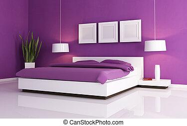 paarse , en, witte , slaapkamer